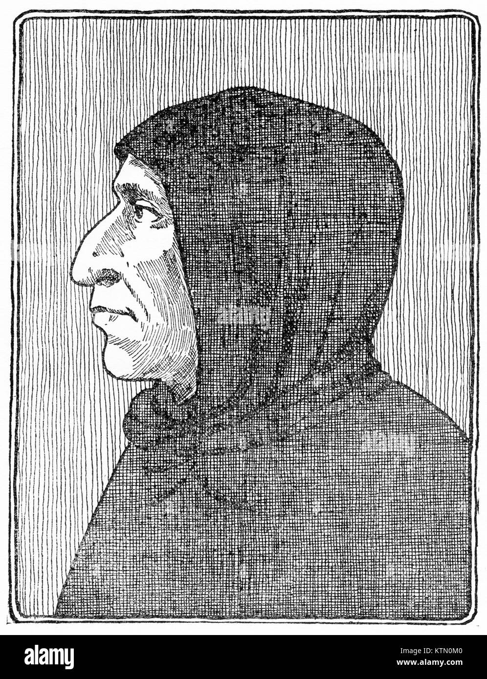 Engraving of Girolama Savonarola, Italian preacher and reformer (1452-1498). From an original engraving in the Historian's - Stock Image