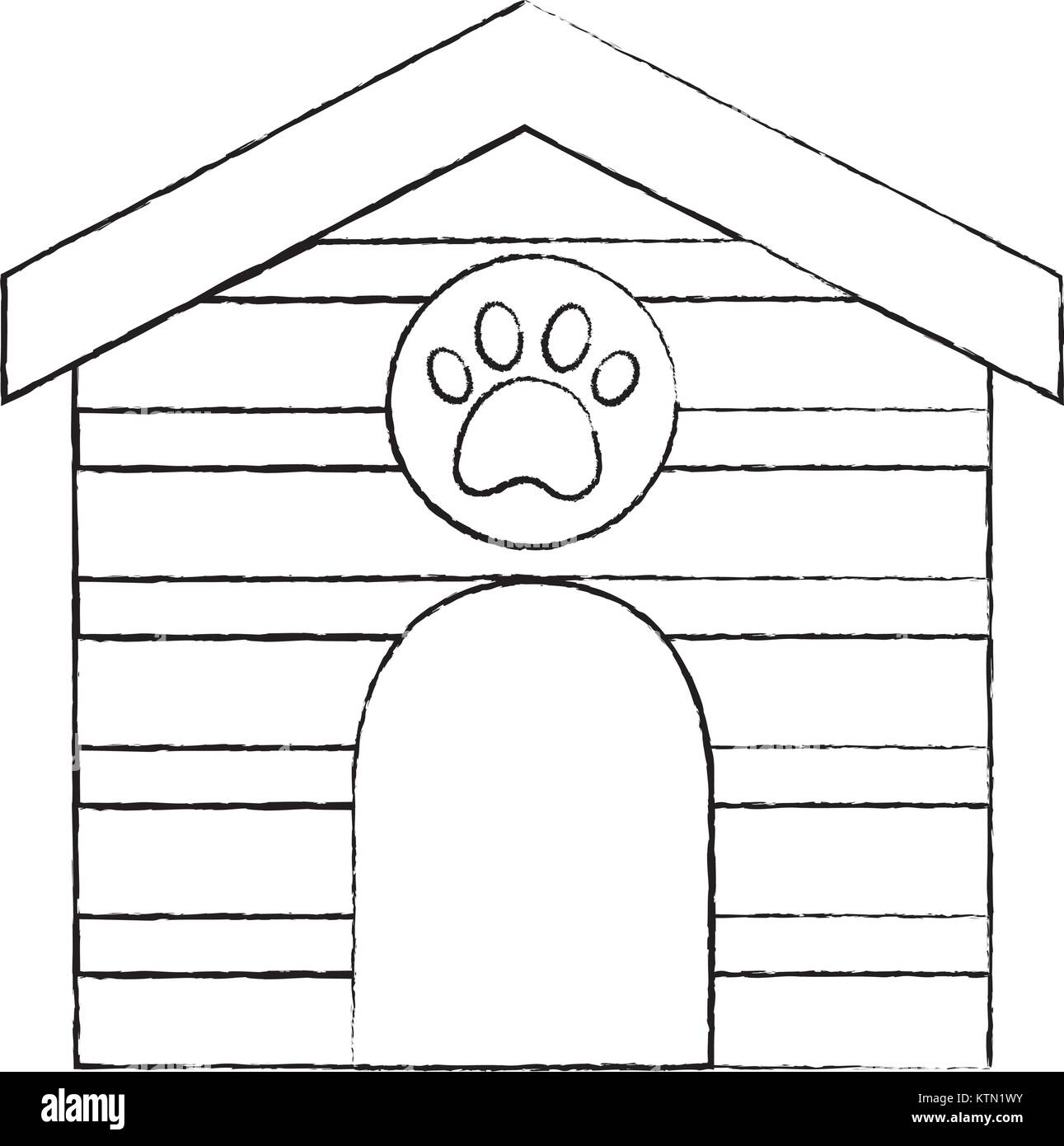 pet house wooden with paw print vector illustration - Stock Image