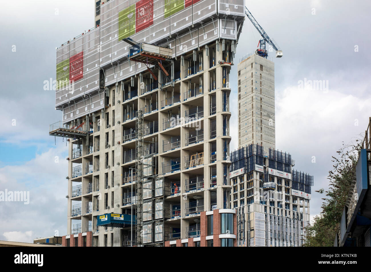 Development in Nine Elms area, London, from Wandsworth Road. construction, towers, cranes - Stock Image