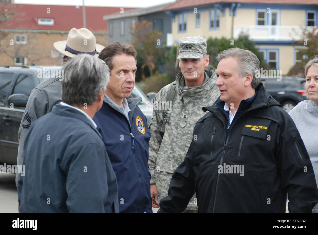 LONG BEACH, N.Y. – New York State Governor Andrew Cuomo meets with Nassau County Executive Edward Mangano and the - Stock Image