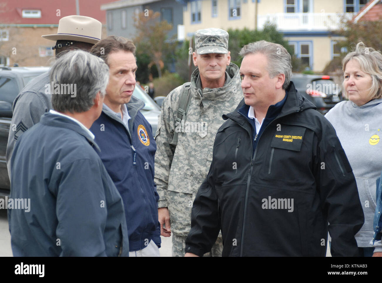 LONG BEACH, N.Y. – New York Governor Andrew Cuomo meets with Nassau County Executive Edward Mangano and the Adjutant - Stock Image