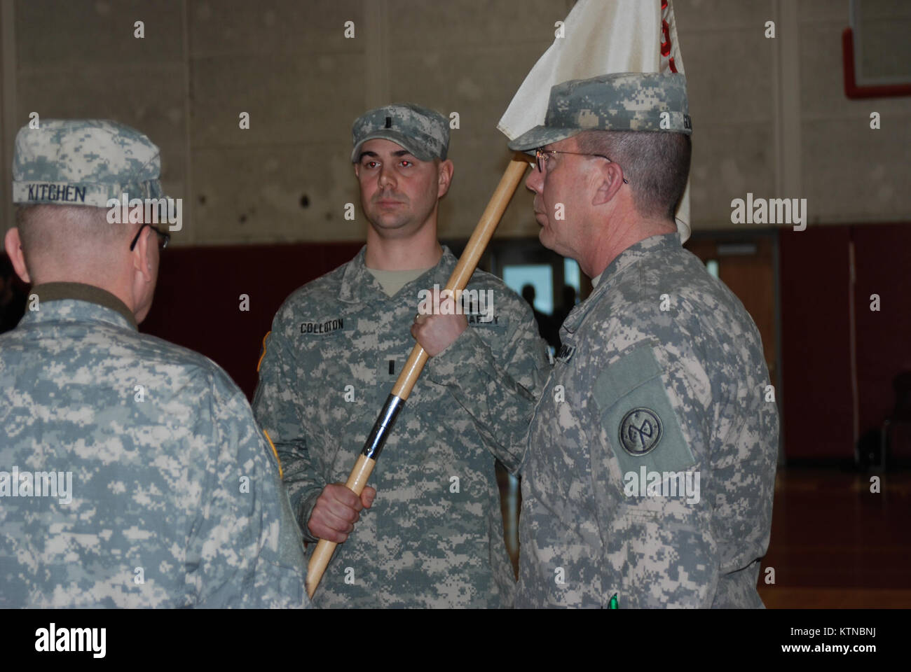 Steven Kitchen Transfers The Guidon Of Company E 427th Brigade Support  Battalion To Lt. Mark Colloton During Change Of Command Ceremonies On  Sunday, Jan.