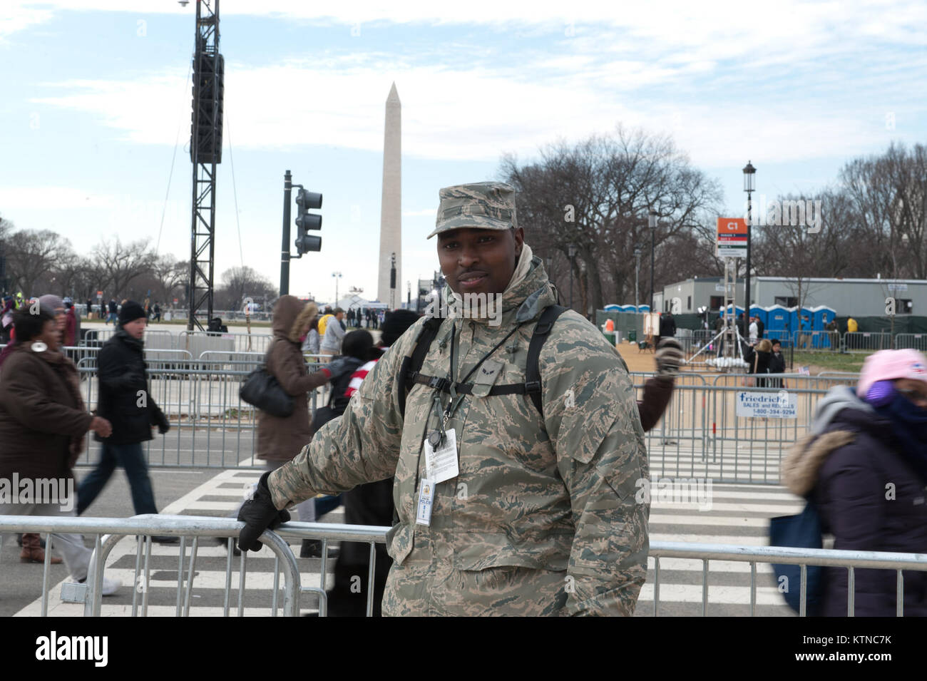 WASHINGTON, D.C. — – Airman 1st Class Damion Myrie, a heavy equipment operator at the 201st Red Horse Squadron, Pennsylvania Air National Guard, Fort Indiantown Gap, Pa., was one of the many National Guardsmen providing crowd control support at the Presidential Inauguration.  The 57th Presidential Inauguration was held in Washington D.C. on Monday, January 21, 2013.   During the 10-day inaugural period approximately 6,000 National Guard personnel from over 30 states and territories worked for Joint Task Force-District of Columbia, providing traffic control, crowd management, transportation, co Stock Photo