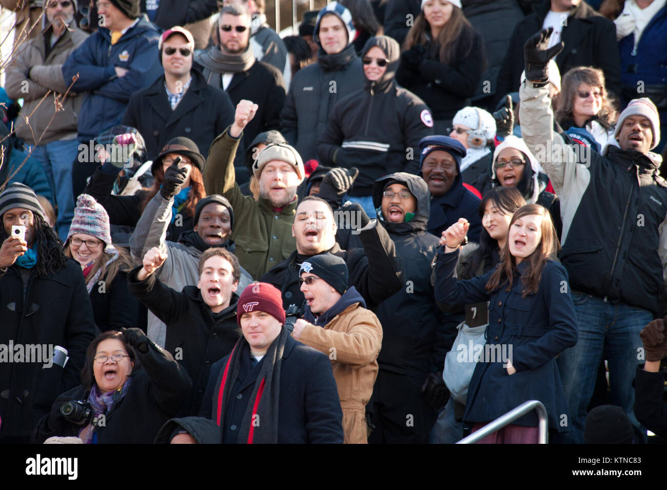 WASHINGTON, D.C. — – Parade-goers celebrate as they wait for President Barack Obama to pass the official review Stock Photo