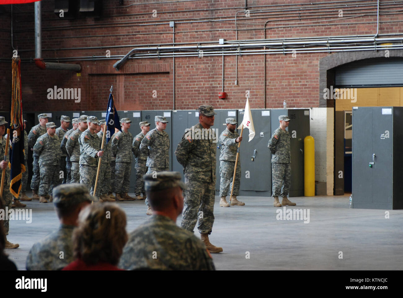 UTICA, N.Y. –New York Army National Guard Soldiers of the 2nd Battalion, 108th Infantry prepare to farewell their Stock Photo