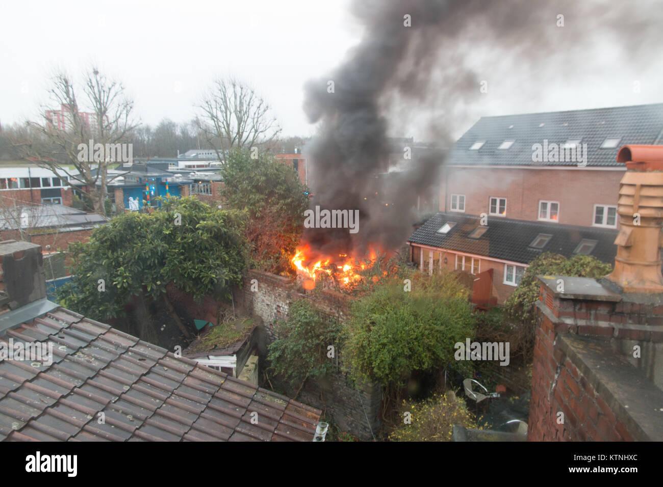 Bristol, UK. 26 December 2017.  An electric substation near Easton Church of England Academy set on fire around - Stock Image