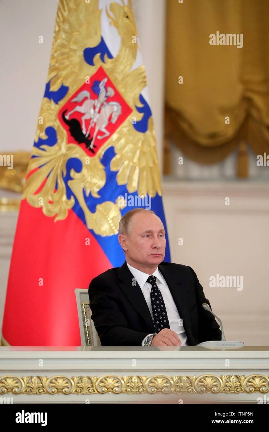 Russian President Vladimir Putin during a meeting with the State Council on improving investment in regions around - Stock Image