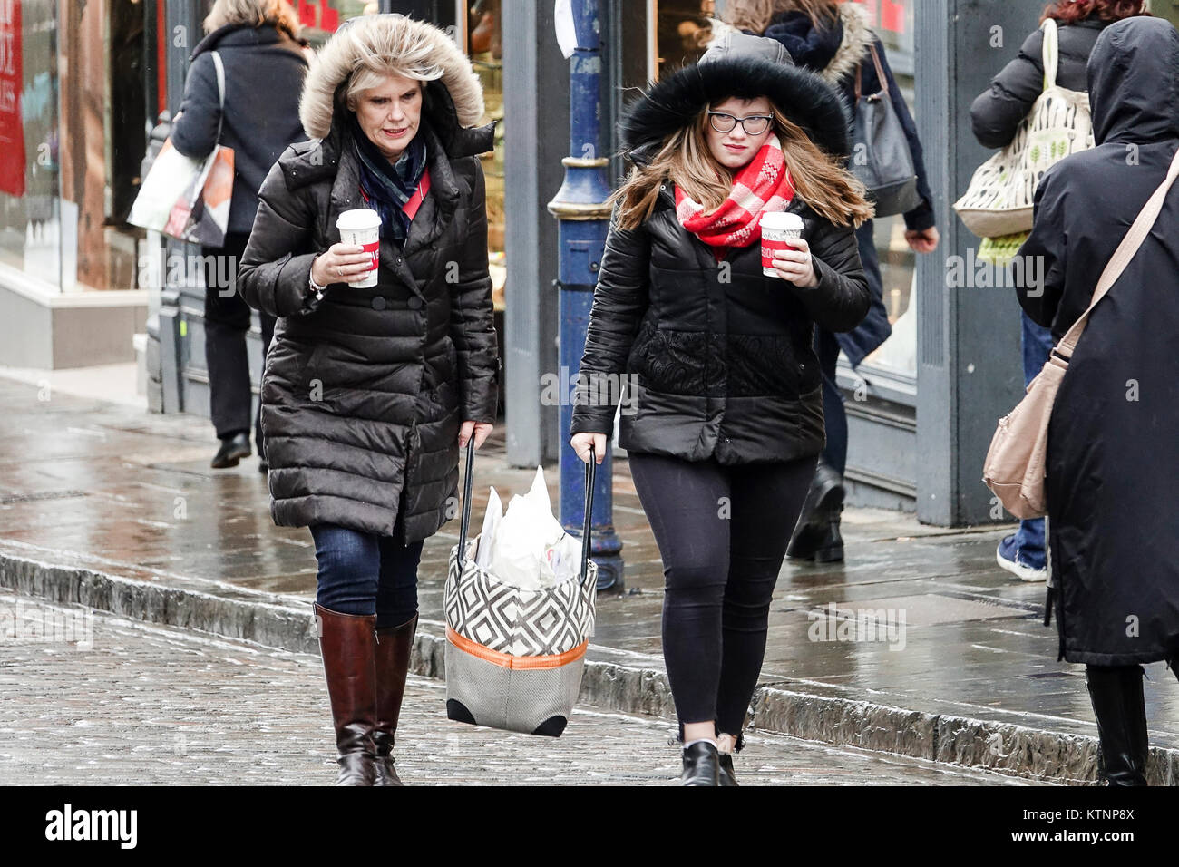 High Street, Guildford. 27th December 2017. Bitterly cold northerly winds affected the Home Counties throughout - Stock Image