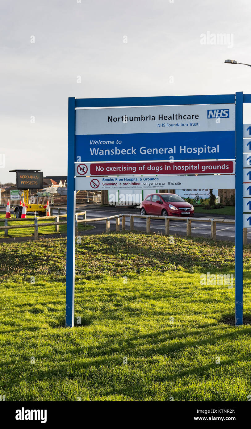Ashington, Northumberland, UK. 27th Dec, 2017. Wansbeck General hospital along with North Tyneside General Hospital - Stock Image