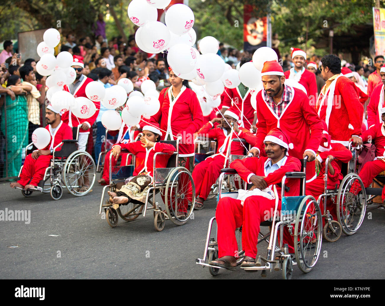 Buon Natale Thrissur.Handicapped People In Wheel Chairs Wearing Santa S Clothes Stock