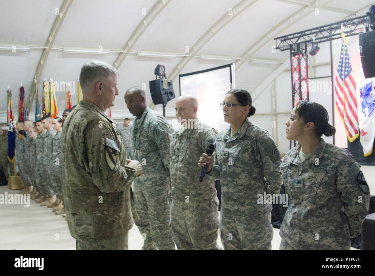 Command Sgt. Major Raymond F. Chandler III, the Sergeant Major of the Army, came to visit soldiers stationed at Stock Photo