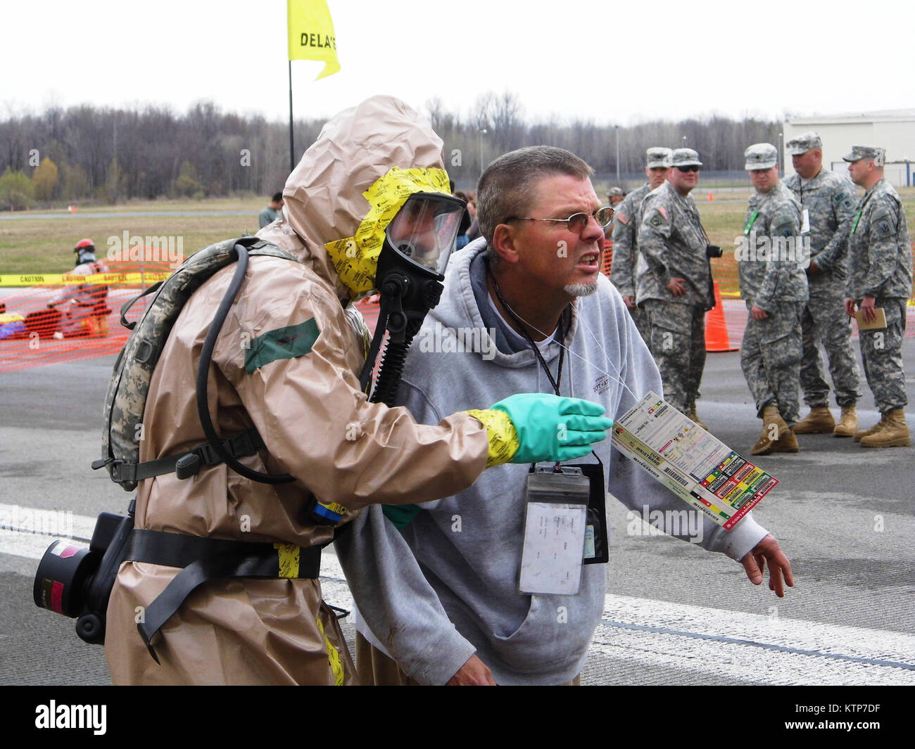 ORISKANY, N.Y. -- A soldier from the decontamination team from the 2nd Squadron, 101 Cavalry, New York Army National Stock Photo
