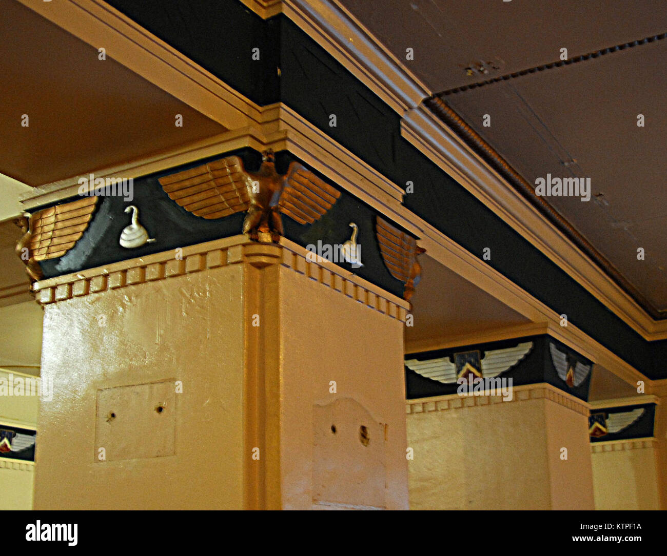 These pillars in the main entry way of the New York Army National Guard's historic Harlem Armory in New York - Stock Image