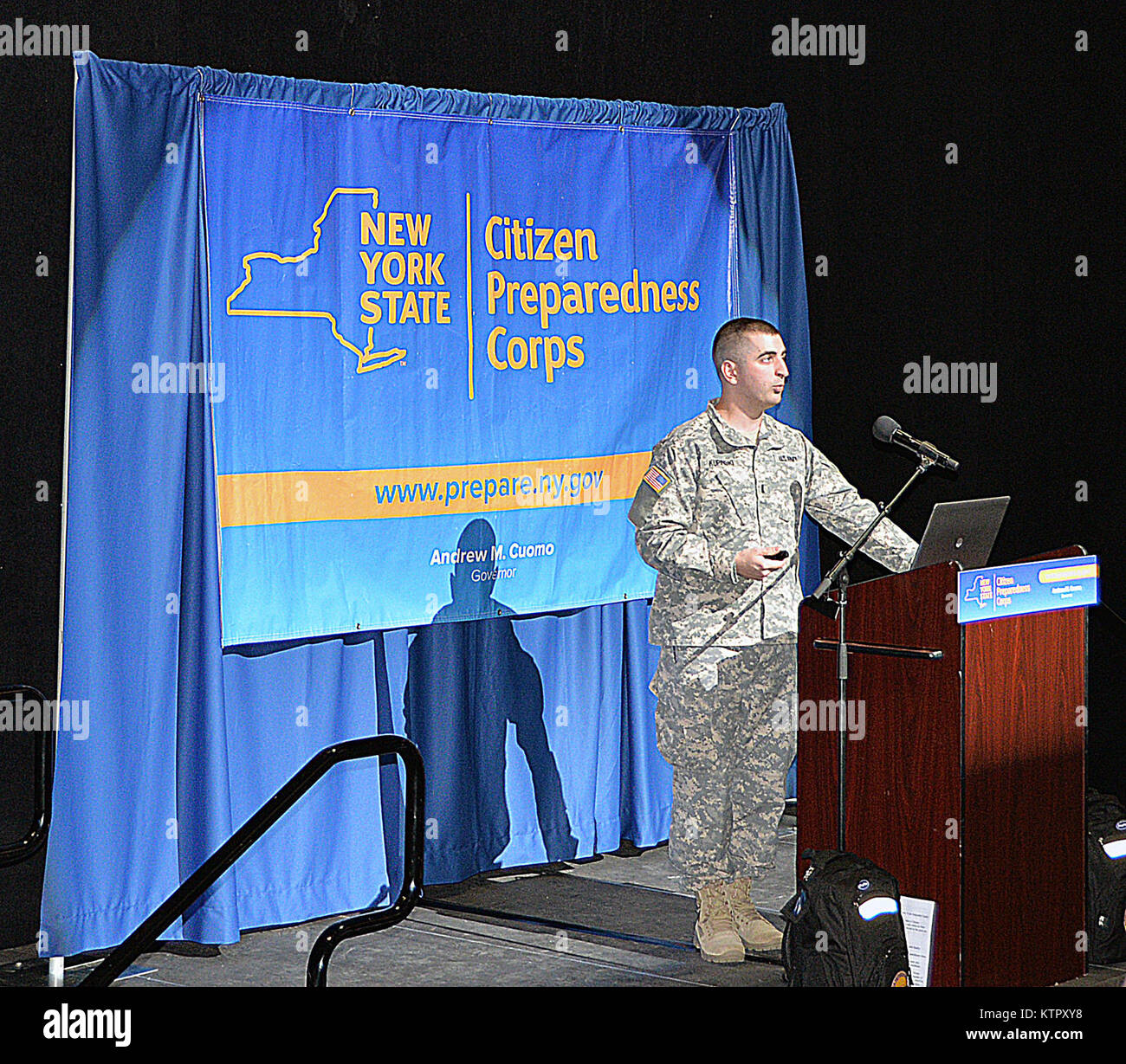 New York Army National Guard 1st Lt. Justin Kupinski speaks to 220 residents during a Citizens Peparedness Corps Stock Photo