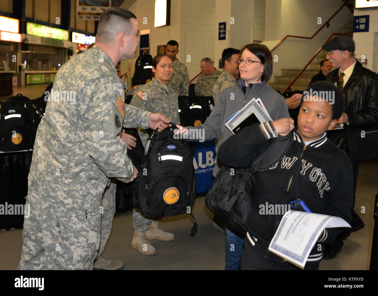 New York National Guard Soldiers and Airmen hand out