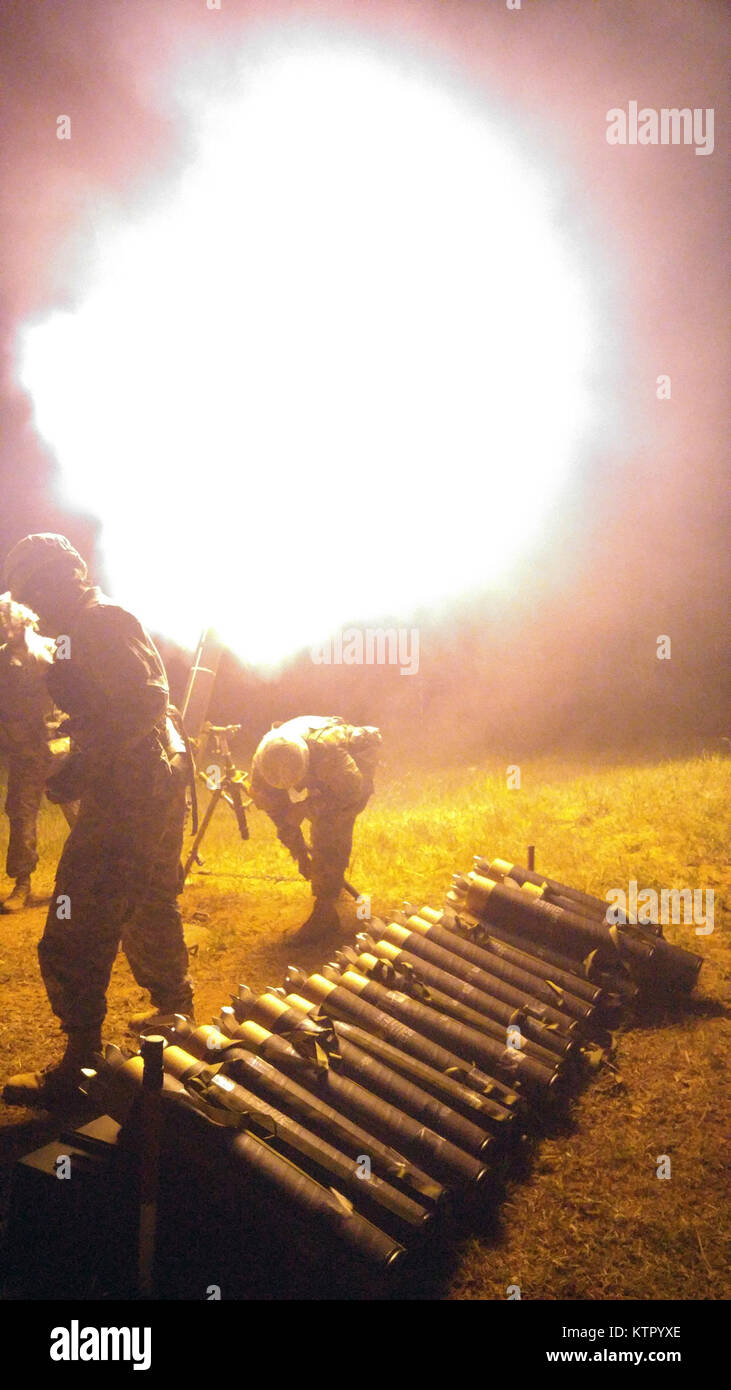 FORT DRUM, N.Y. -- Soldiers of 2nd Squadron, 101st Cavalry fire a 120 mm mortar here on May 19. The unit belongs Stock Photo