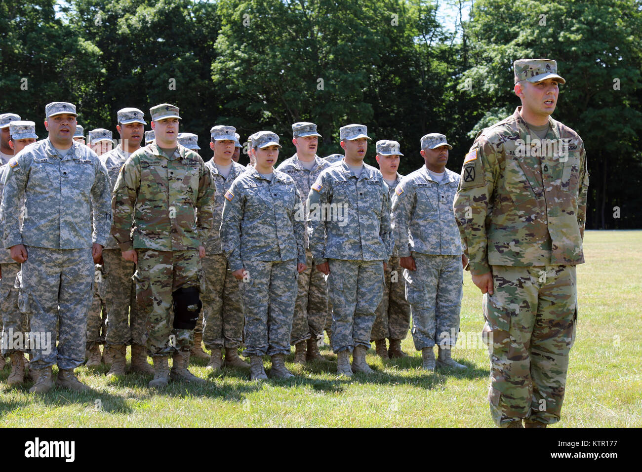 CORTLANDT MANOR, N.Y. -- Sgt. 1st Class Ryan Padilla, of the New York Army National Guard's 42nd Division Signal Stock Photo