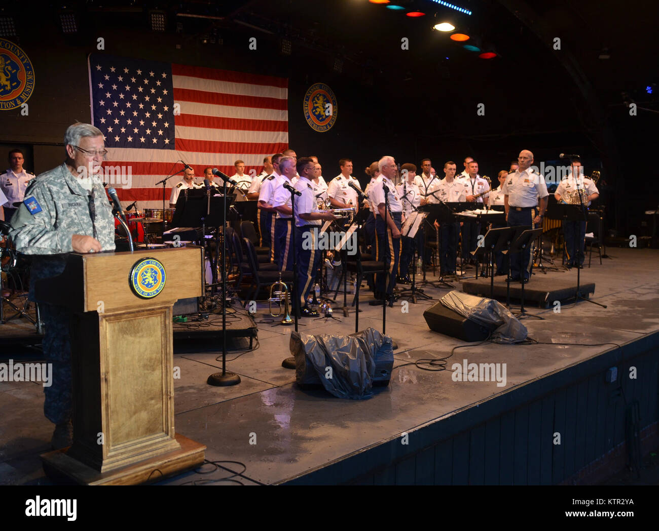 The New York Army National Guard's 42nd Infantry Division Band played a free concert at Eisenhower Park, Nassau Stock Photo