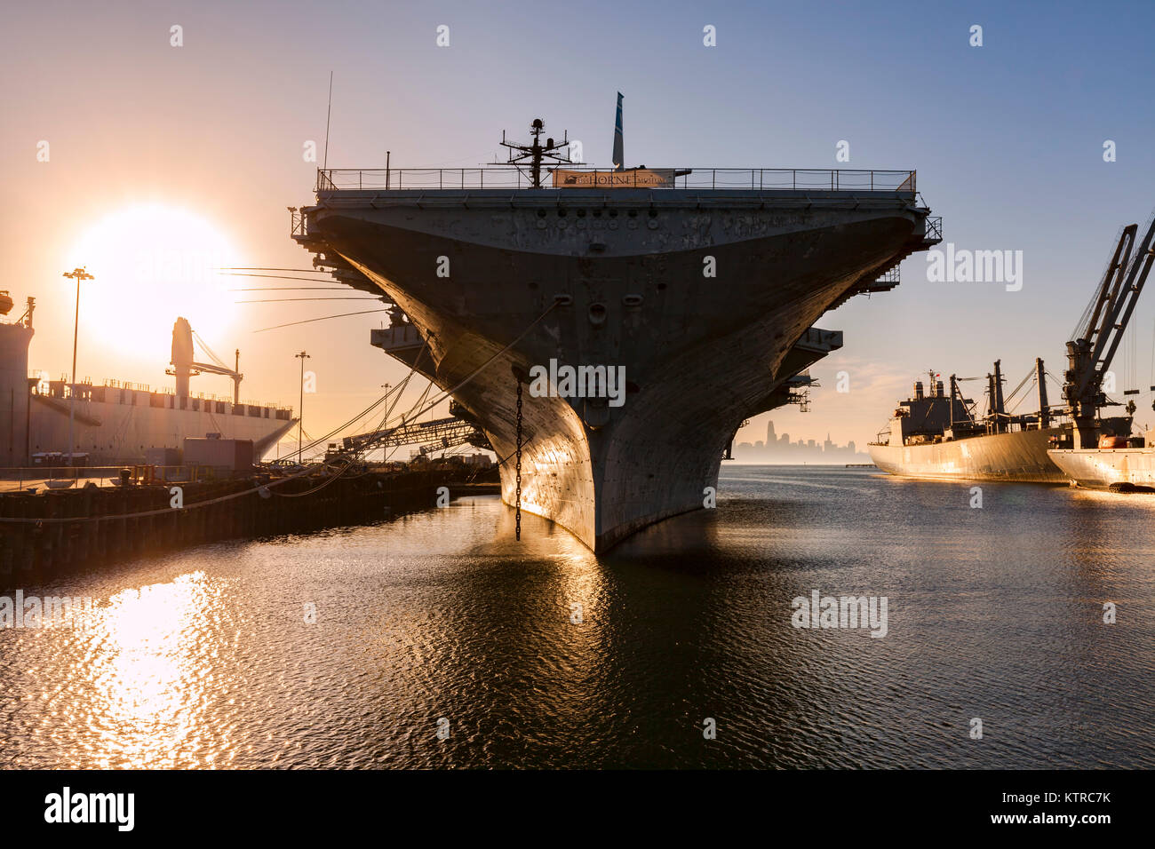 The World War 2 era Essex class carrier USS Hornet now sits as a museum at Alameda Point. In addition to distinguished - Stock Image