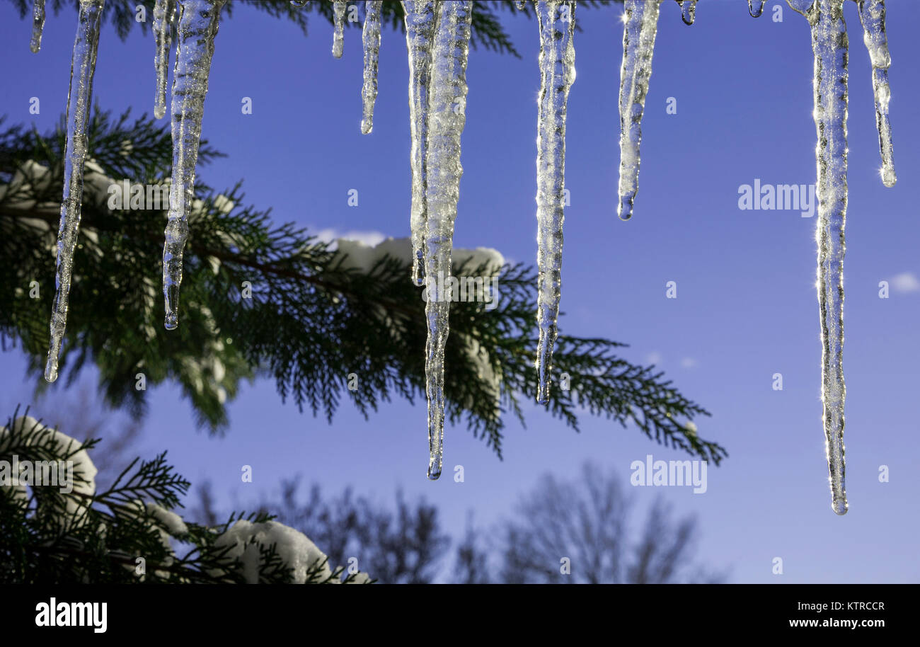 Rooftop icicles against an ultra violet blue sky, Vermont, USA - Stock Image