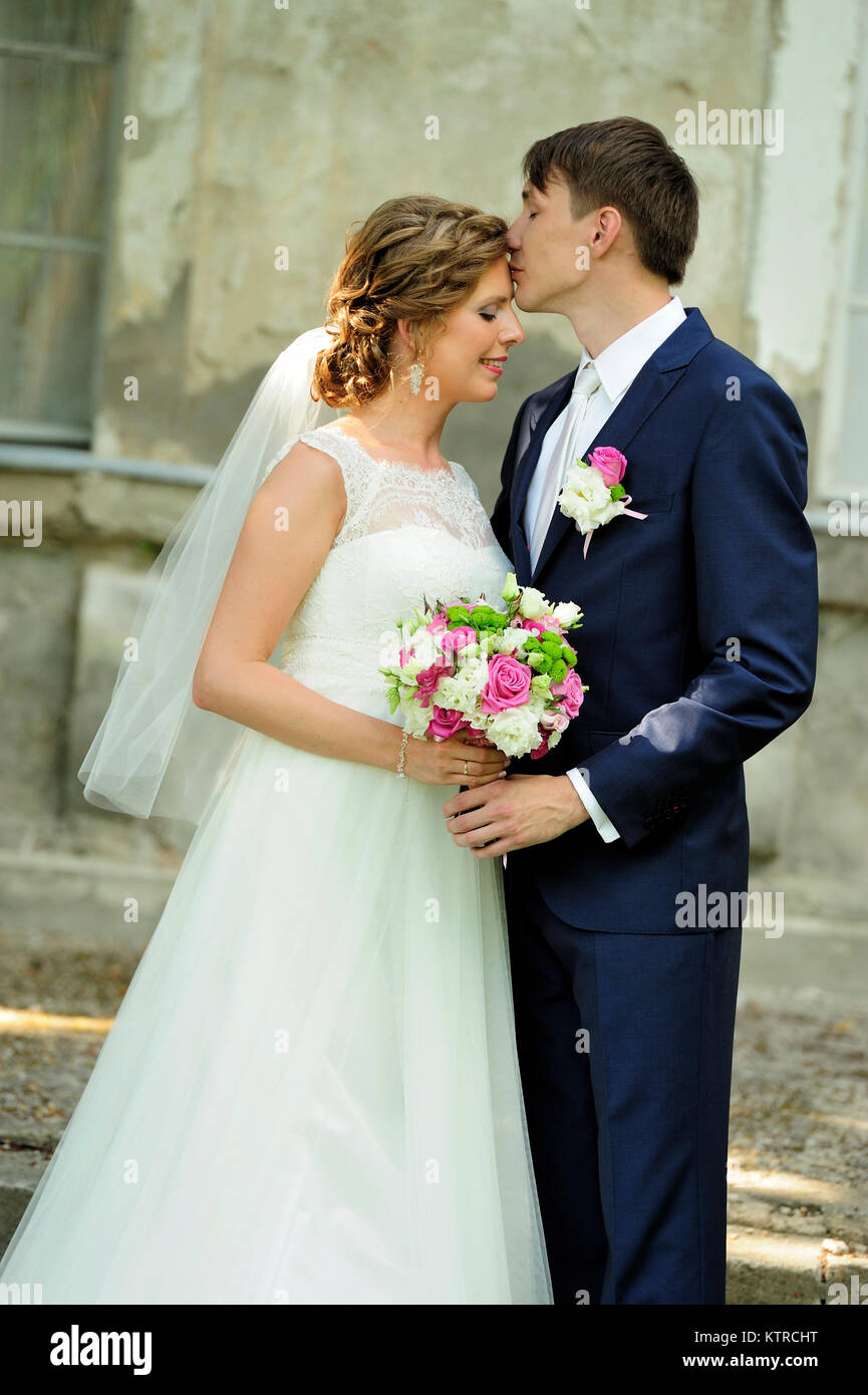 young couple, wedding, love, marriage, Couple on wedding day, two ,people, outdoor, happiness, smiling, man, women, - Stock Image