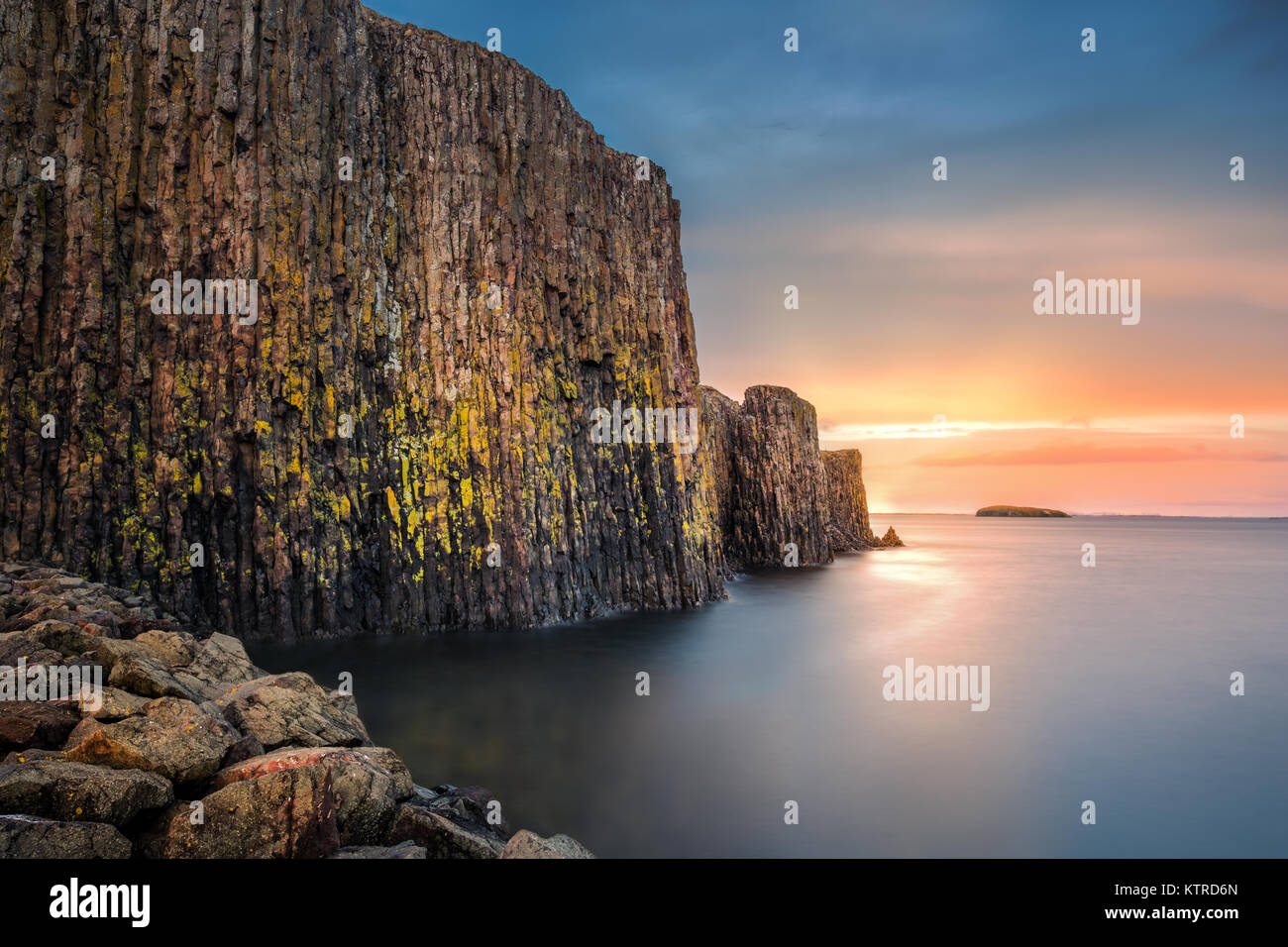 Sugandisey, the basalt island, near Stykkisholmur, Iceland - Stock Image
