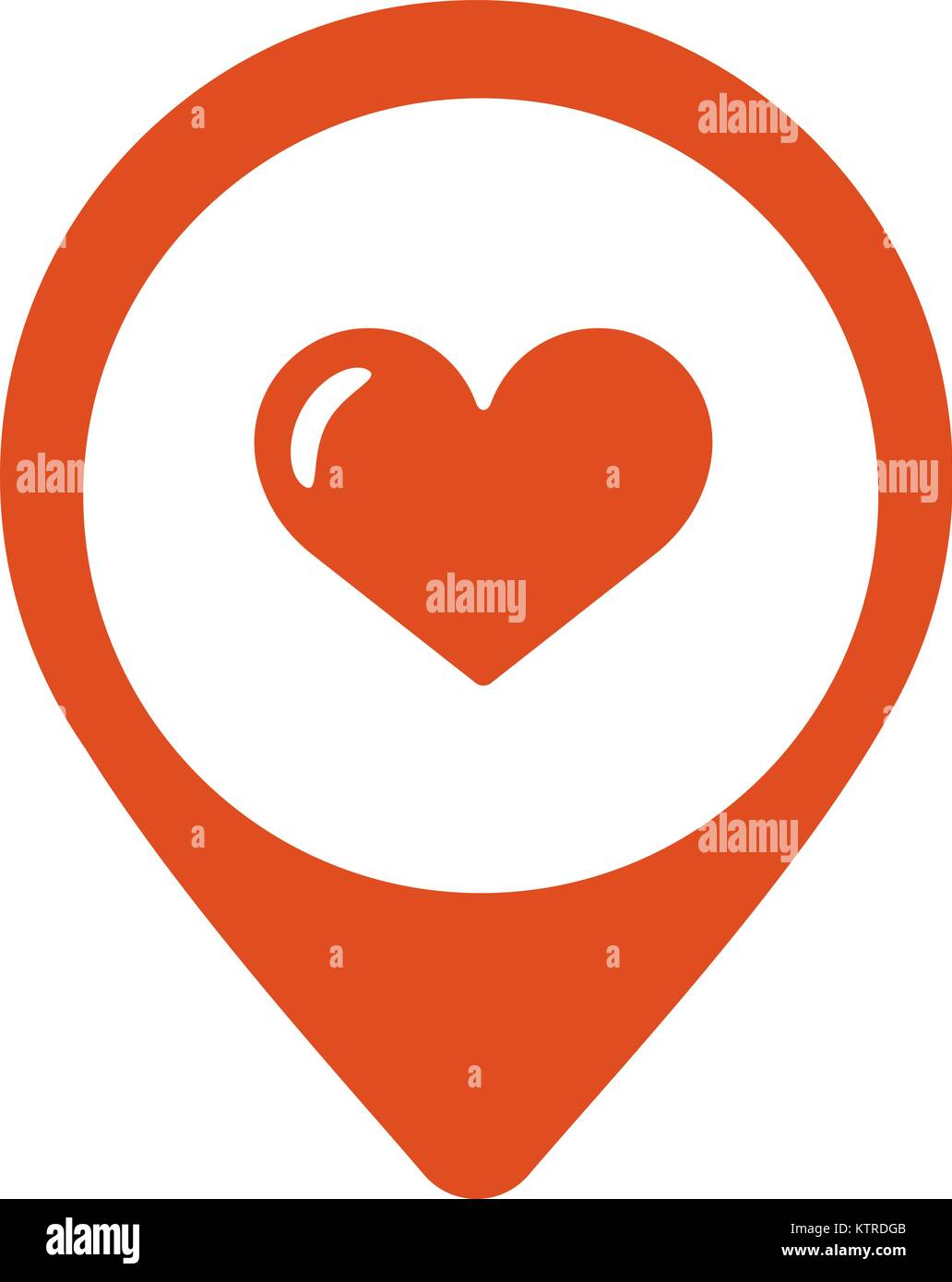 Map pointer with heart icon. Vector illustration - Stock Vector