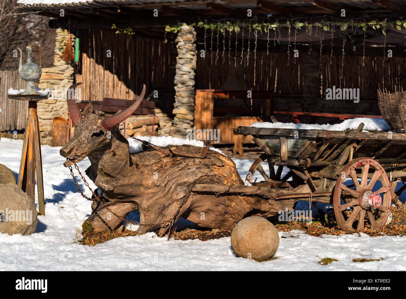 Decorative wooden carriage outdoors - Stock Image