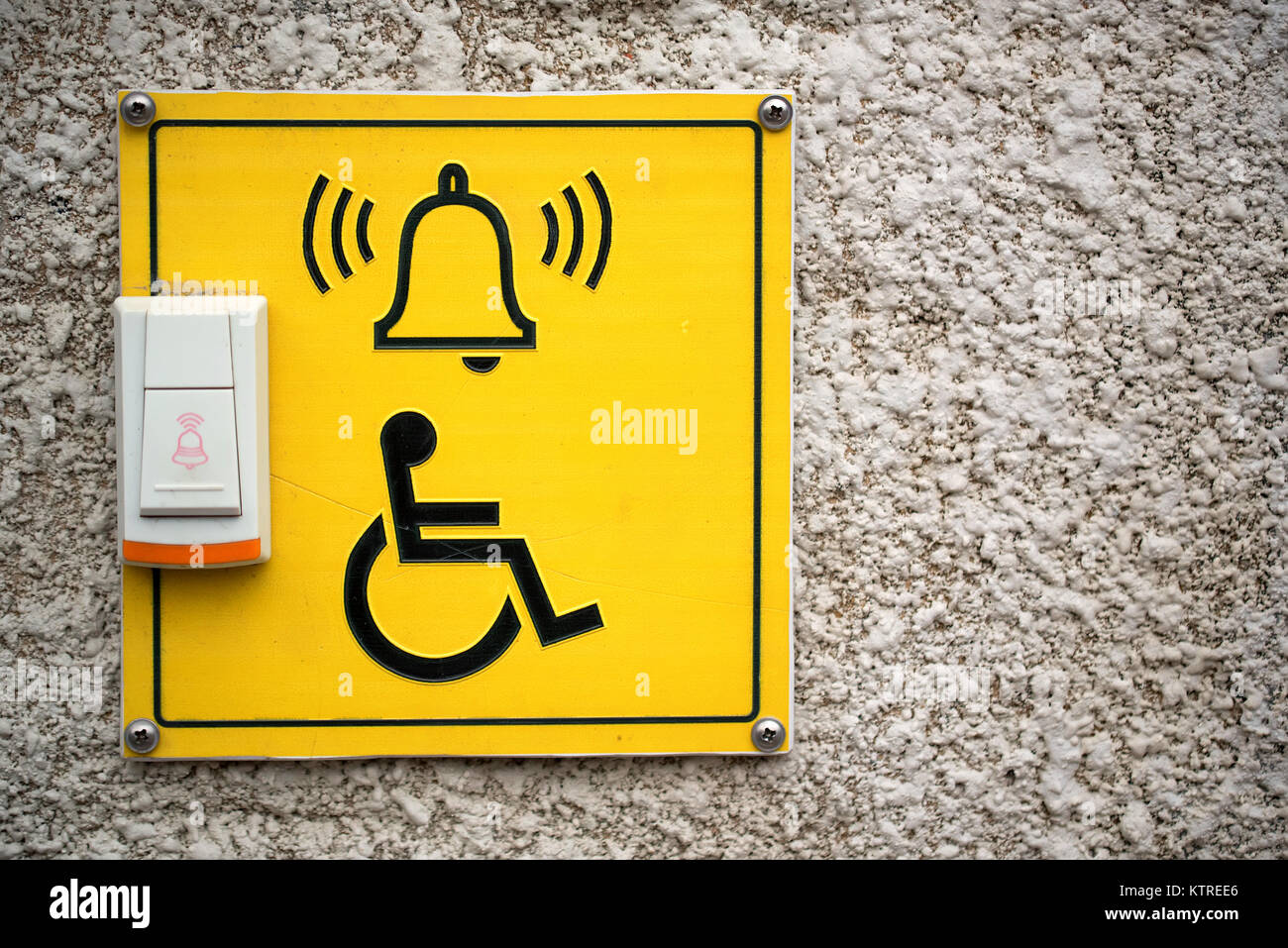 Doorbell for disabled entrance - Stock Image