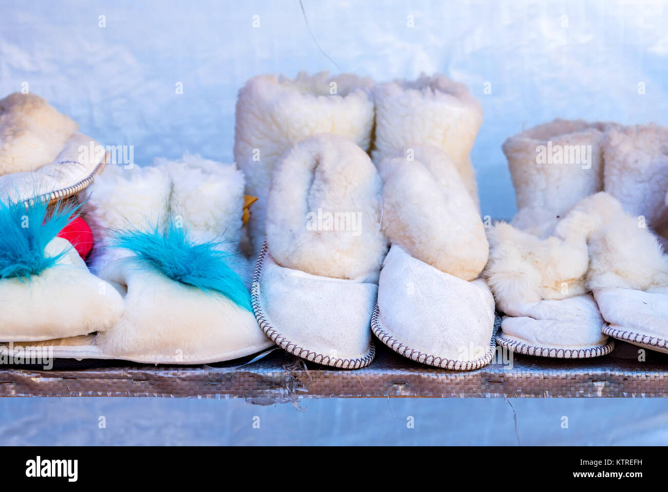 Several white domestic uggs - Stock Image