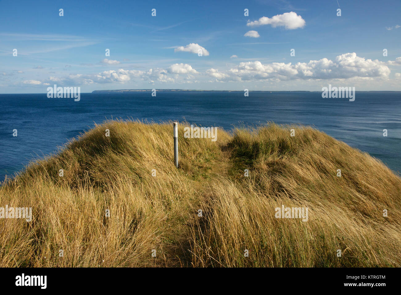 Panoramic view on Cape Arkona , Putgarden, Ruegen Island, Germany. Viewpoint wih pole. View on baltic sea with the Stock Photo