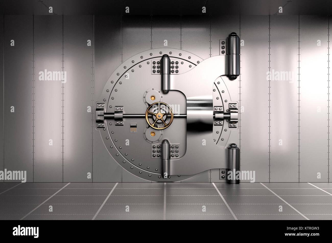 Closed Bank Vault Door. 3D illustration - Stock Image