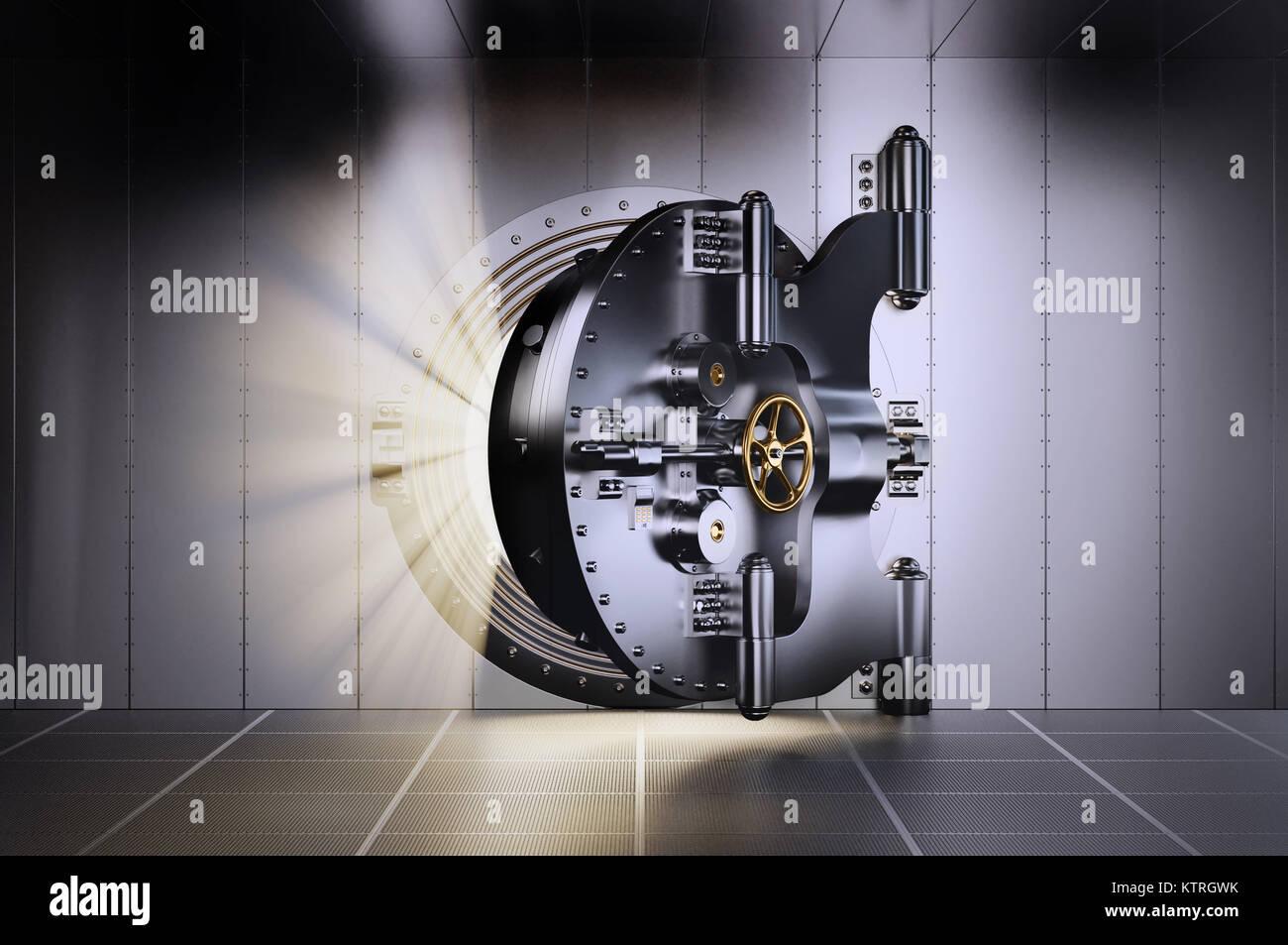 3d Illustration of Opened Bank Vault Door with light streaks - Stock Image