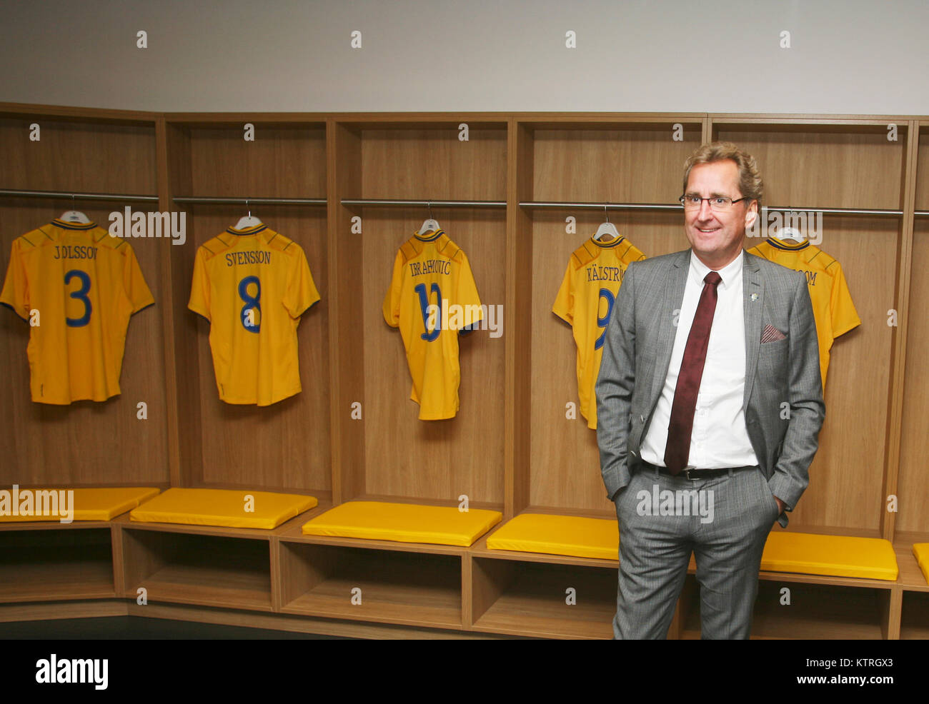 ERIK HAMRÉN Former Swedish football coach for National team 2012 in the locker room in Friends arena - Stock Image