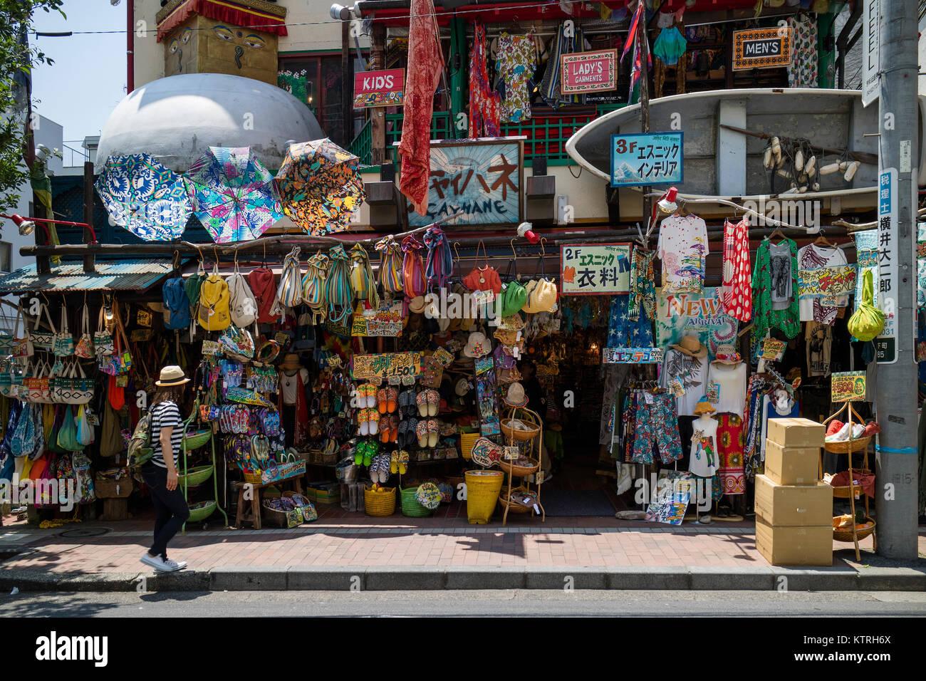 Yokohama - Japan, June 16, 2017; Colorful traditional souvenir shop in China town, Yokohama city - Stock Image