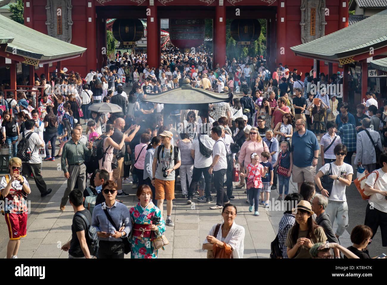 Tokyo - Japan, June 17, 2017; Tourists around Edo era Hozomon entrance of Sensoji, also known as Asakusa Kannon - Stock Image