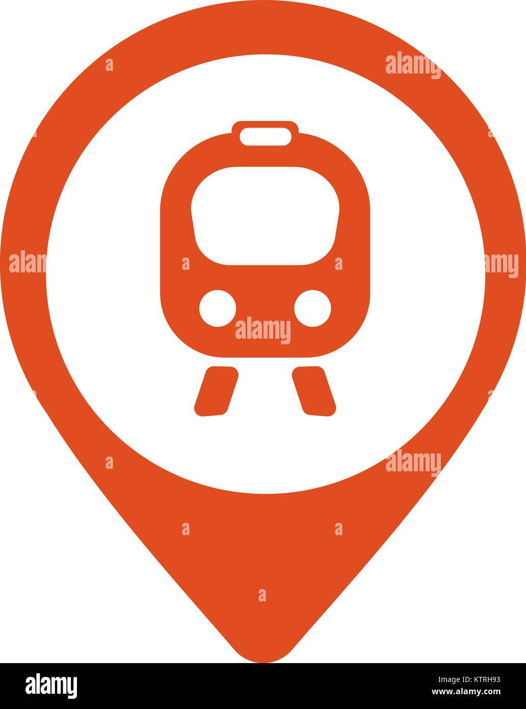 Map icon with train, trolley - vector illustration - Stock Vector