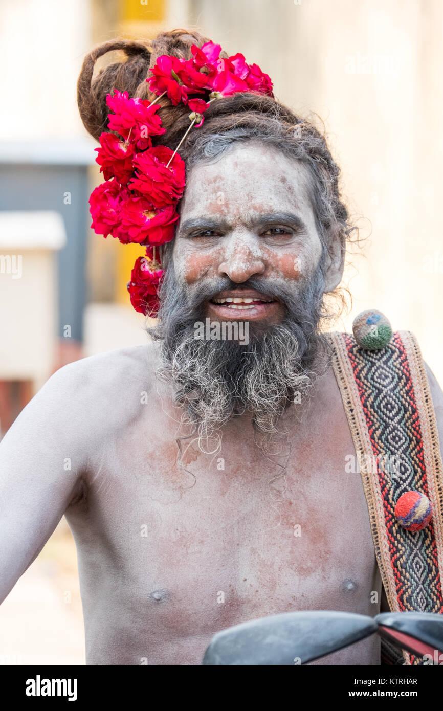 An Indian Holy Man / Sadhu / Saddhu / Yogi in Jaipur, Rajasthan,India - Stock Image