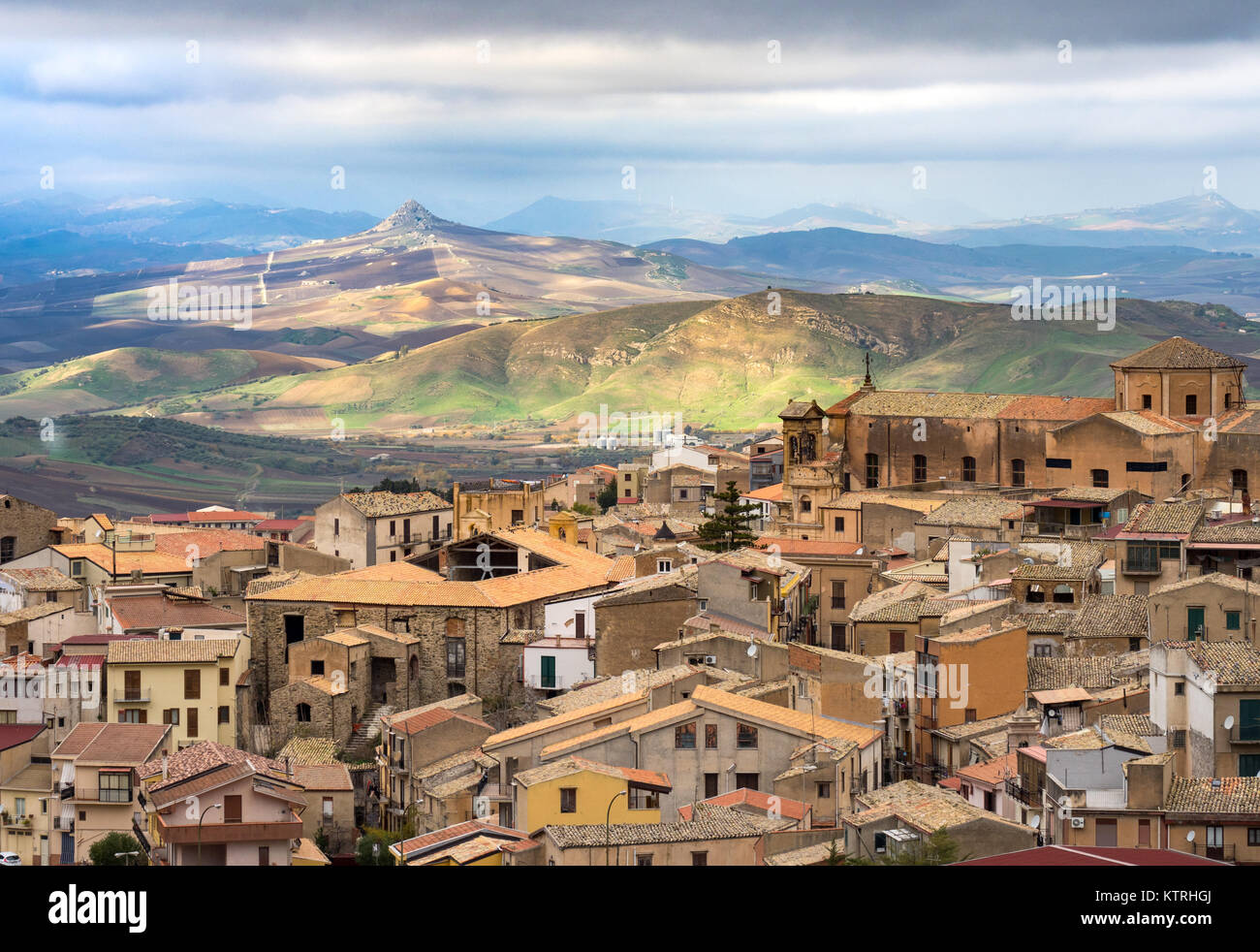 Corleone captured from above near SS Salvatore monastery - Stock Image