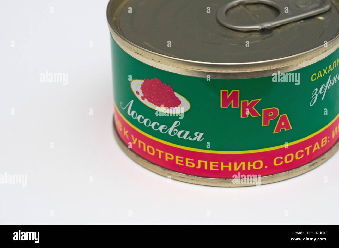 tin can of red caviar - Stock Image