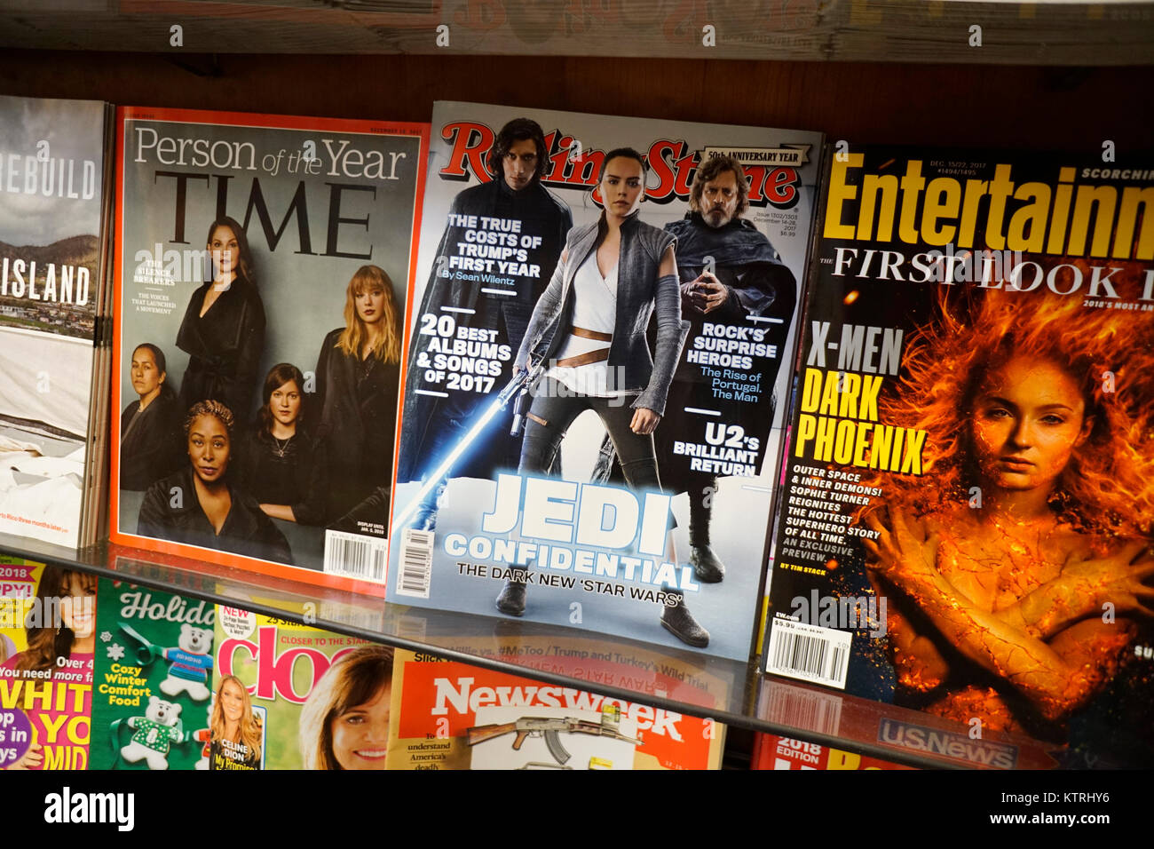 Rolling Stone magazine is seen on a newsstand in New York on Thursday, December 21, 2017. A deal is reported to - Stock Image