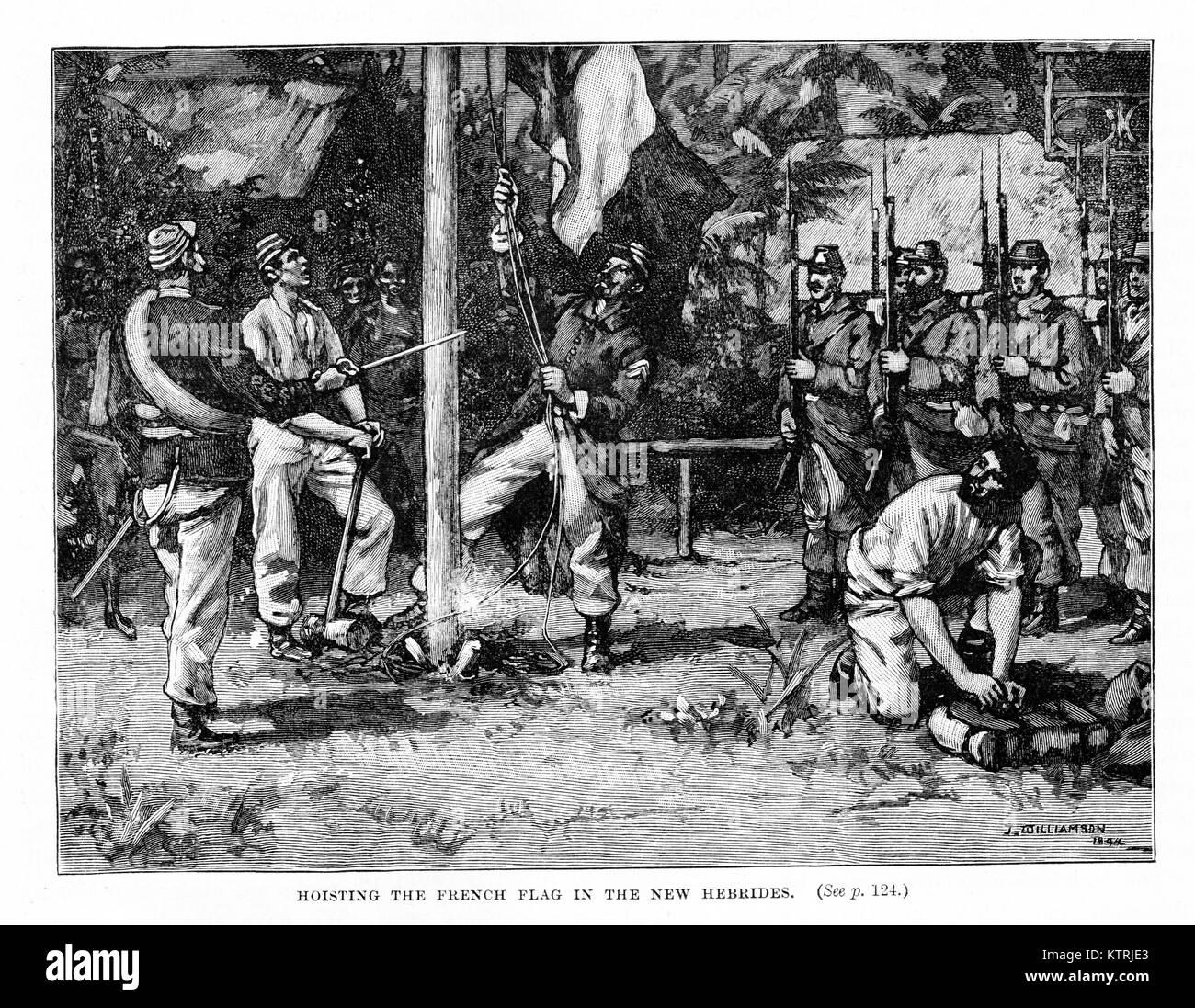 Hoisting the French flag in the New Hebrides, 1886. Black and White Illustration - Stock Image