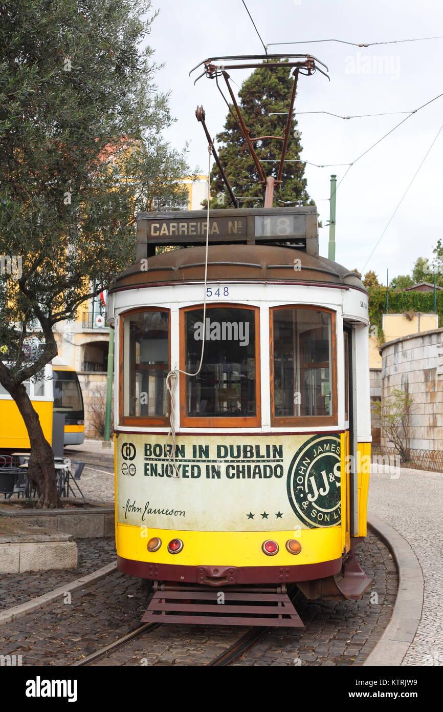 Historische alte Tram in Belem, Lissabon, Portugal    I Old Tramcar in Belem, Lisbon, Portugal Stock Photo