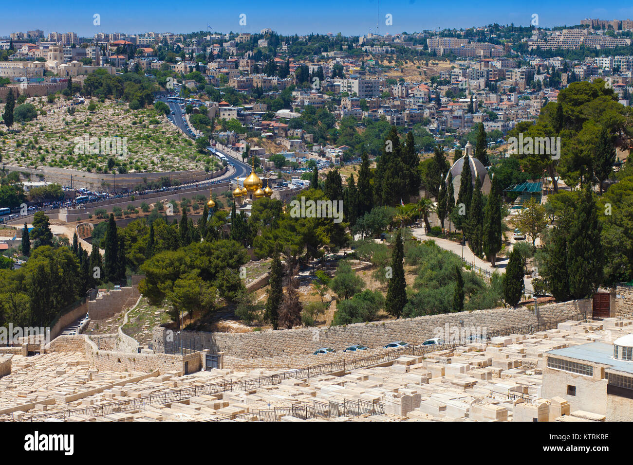 View on the Christian churches on the Mount of Olives and the ancient cemetery - Stock Image