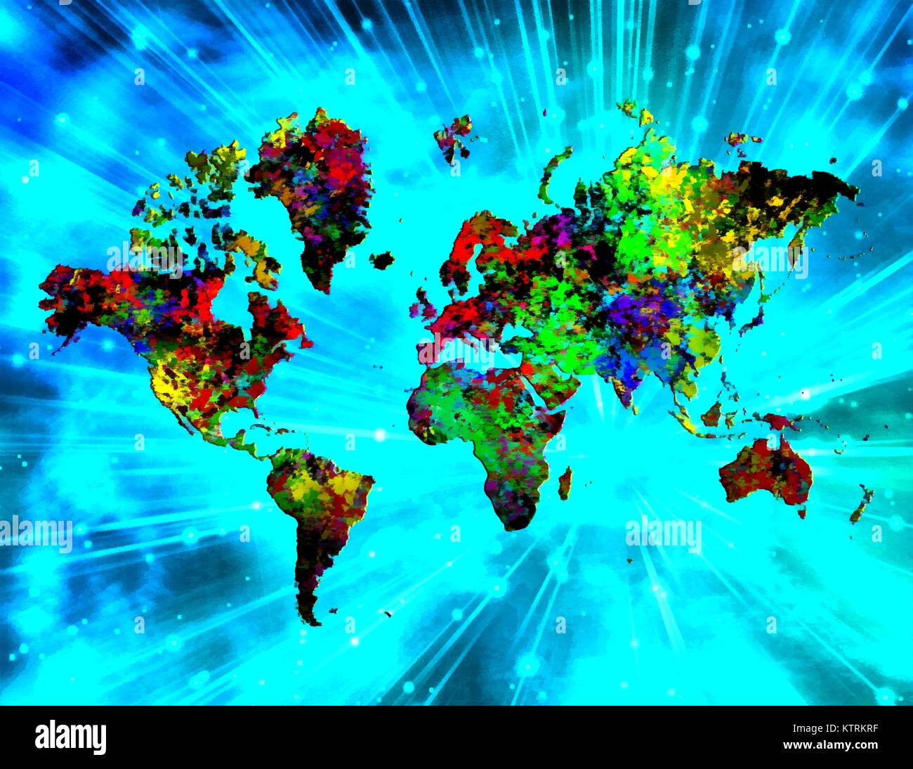 Abstract Painting Colorful World Map Rays Of Light On A Background - Colorful world map painting