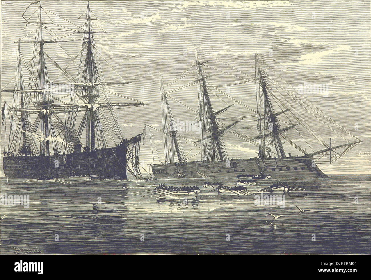 The sinking of the HMS Vanguard (1870). HMS Iron Duke is on the left, HMS Vanguard on the right. 1887 - Stock Image