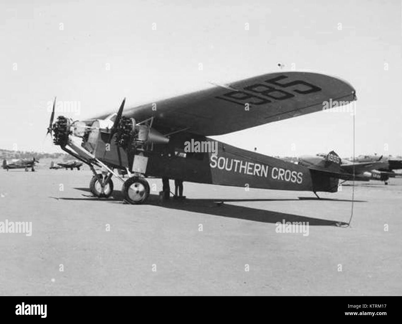 Southern Cross plane, Fokker F.VII/3m monoplane named Southern Cross, 1928, Kingsford Smith and Charles Ulm, Fokker - Stock Image