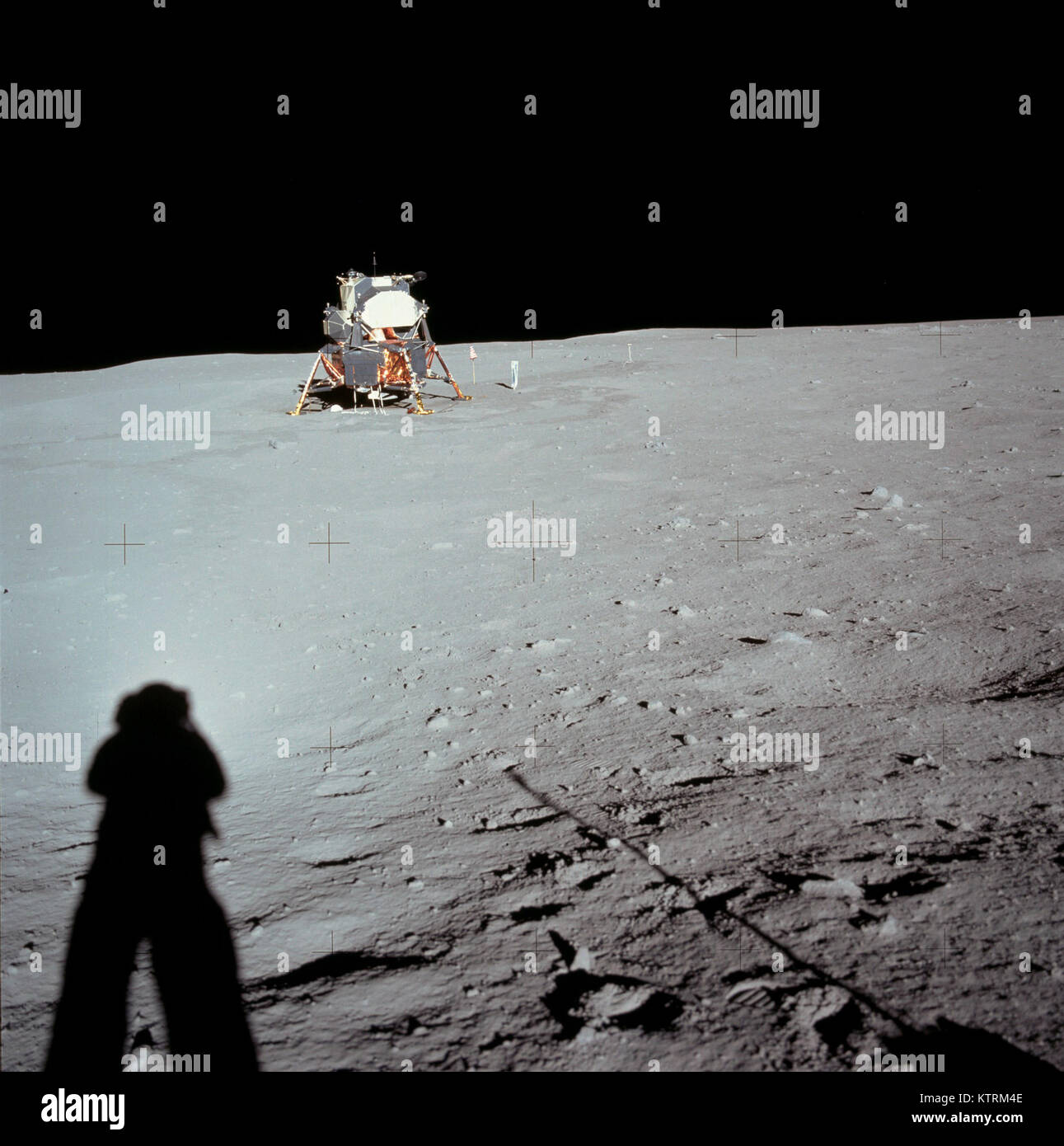 Lunar Module at Tranquility Base was taken by Neil Armstrong during the Apollo 11 mission, from the rim of Little Stock Photo