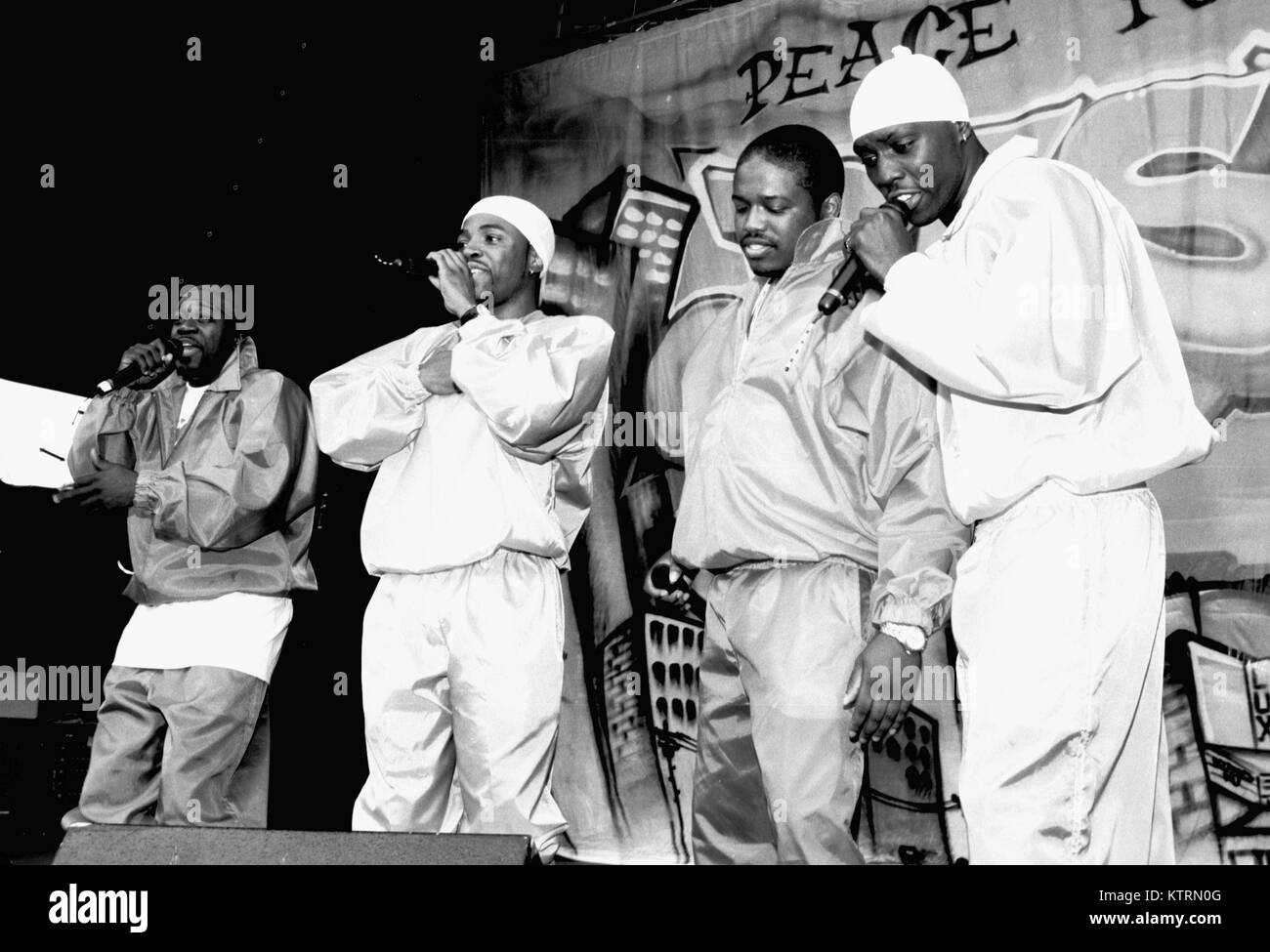 MOUNTAIN VIEW, CA - 1994: Blackstreet performs at KMEL Summer Jam 1994 at the Shoreline Amphitheatre in Mountain Stock Photo