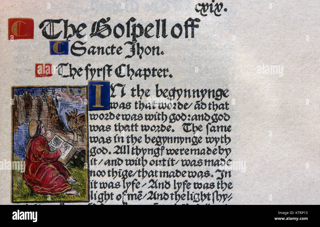 Detail of text from William Tyndale's 1525 New Testament which was printed in Cologne and smuggled into England; - Stock Image